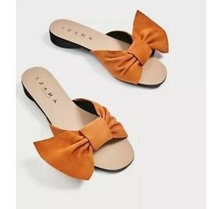 Zara Suede Slides with Bow